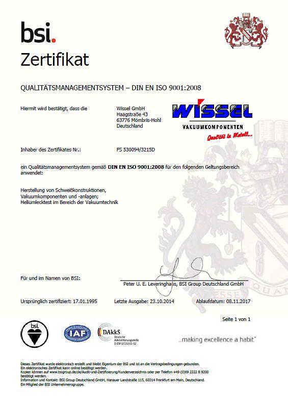 ISO Zertifikat WISSEL 9001 deutsch 2014