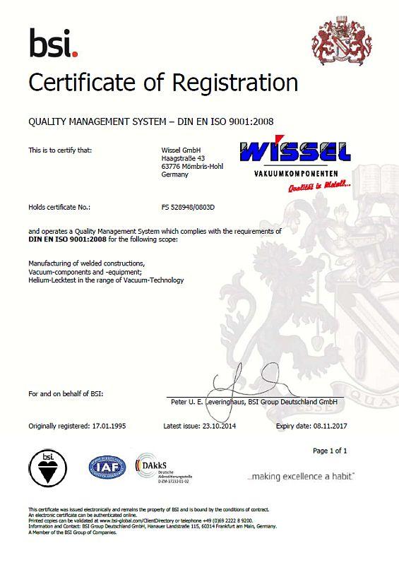 ISO Zertifikat WISSEL 9001 englisch 2014